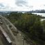 train yard with trains